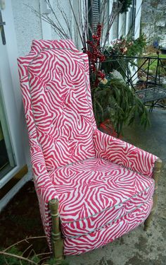 Drexel heritage beauty. upholstered in a pink zebra print gives it its whimsical charm..  via Etsy.
