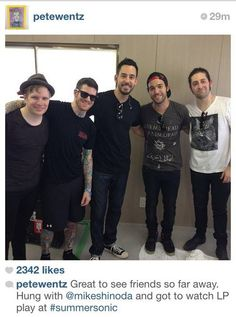 mike shinoda with fall out boy sidenote: mike is SO tall!