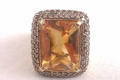 Heavy 18ct Gold Diamond & Cabachon Citrine Vintage Ring Circa 1952 15.99 Grams