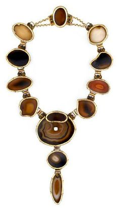Tony Duquette (American, 1914-1999), 'Symbolizing Pluto and the Ability to Evoke Transformation', 1990s. An agate slice, tigers eye, zircon and vermeil necklace, signed Tony Duquette 1995, with original box, length 17 in (43cm). Sold for $14,640