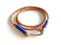 Triple Leather bracelet Wrap Bracelet Mens leather bracelet Silver fish hook Men Bracelet brown leather cuff Bohemian leather men Wristband