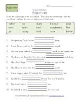 2nd grade fill in blanks adjective worksheet
