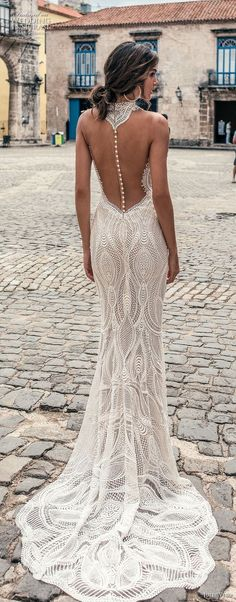 "Julie Vino Fall 2018 Wedding Dresses — ""Havana"" Bridal Collection julie vino fall 2018 havana sleeveless halter jewel neck deep plunging sweetheart neck full embellishment elegant sexy fit and flare sheath wedding dress shear button back sweep train bv Wedding Dress Low Back, Wedding Dresses 2018, Perfect Wedding Dress, Bridal Dresses, Lace Wedding, Trendy Wedding, Wedding Ceremony, Sheath Wedding Dresses, Gown Wedding"