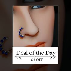 Today Only! $3 OFF this item.  Follow us on Pinterest to be the first to see our exciting Daily Deals. Today's Product: Beaded Silver Nose Ring Wrapped with Lapis Buy now: http://www.rockyournose.com/products/beaded-silver-nose-ring-wrapped-with-lapis?utm_source=Pinterest&utm_medium=Orangetwig_Marketing&utm_campaign=Wrap%20Me