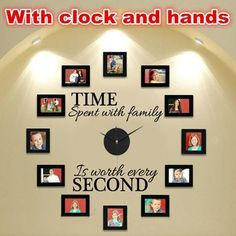 """DIY Vinyl """"Time Spent With Family"""" Photo Frame Wall Clock"""
