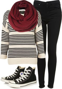 stripes, converse:), and black skinny jeans