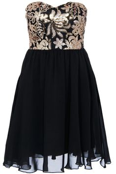 ROMWE Gold Sequined Embroidery Black Bandeau Dress