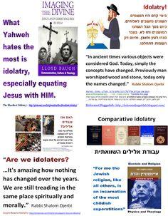 """?האם אנו עובדי אלילים  -   """"Are we idolaters?   - In ancient times various objects were considered God. Today, simply the concepts have changed.""""   -    Rabbi Shalom Djerbi."""
