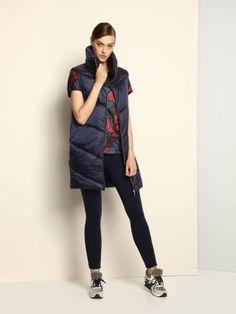 Vesta lunga de fas matlasata cu guler inalt bleumarin Top Secret, Dark Blue, Winter Jackets, Casual, Sports, Shopping, Collection, Tops, Design
