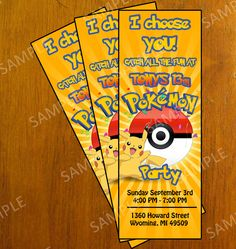 Pokemon Personalized Birthday Party Invitation - Pokemon Ticket Invitation - DIY Printable. $9.00, via Etsy.