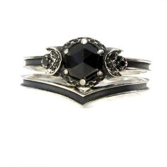 Black Silver Midnight Moon Engagement Ring Set - Rose Cut Black Spinel and  Black Diamonds - One or Two Side Bands f1290b018a2a5
