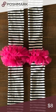 Girls Leg or arm sleeves with ruffle These are leg or arm sleeves to accessorize or help keep her warm.  Pink ruffle is so cute.  Makes a bland outfit POP. Accessories Socks & Tights