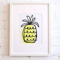 "Pineapple Art Print – 8""x10"" Screen Print - Baba Souk"