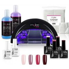 Mylee Kit 4 Colours + LED Black Lamp Please note the instructions are for reference purposes only.Kit Includes Mygel Top Coat Mygel Base Coat Mygel Gel Polish Colours Mylee P Home Gel Nail Kit, Manicure At Home, Diy Manicure, Remove Gel Polish, Gel Polish Manicure, Lint Free Wipes, Cure Nails, Red Carpet Manicure