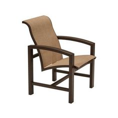 Tropitone Lakeside Ii Patio Dining Chair with Cushion Finish: Parchment, Fabric: Sparkling Water