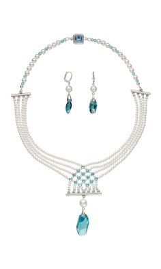 Jewelry Design - Multi-Strand Necklace and Earring Set with Swarovski® Crystals and Antique Silver-Plated Brass End Bars - Fire Mountain Gems and Beads