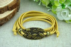 Retro Bronze  braceletBird & Flower  BraceletYellow  by Evanworld, $3.50