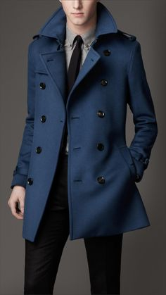 Blue double breasted coat.