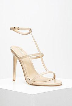 19eb16d868c Faux Leather T-Strap Stiletto Sandals