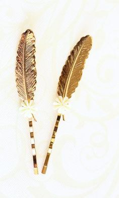 Gold Feather Bobby Pins