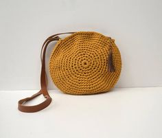 Mustard crochet crossbody bag circle bag Mustard, Tassels, I Am Awesome, Crossbody Bag, Colours, Brown, Leather, Bags, Carpet