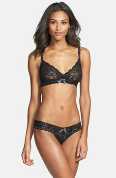 Hanky Panky 'Garbow' Bralette & Thong #intimates #lingerie #garter #lace #noclothesnecessary #almostnaked #halfdressed