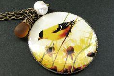 Finch+Pendant+Yellow+Bird+Necklace+with+Fresh+von+TheTeardropShop,+$28,00