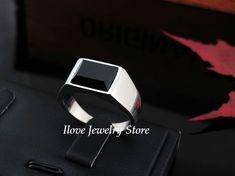 2014 nueva moda gótica punky negro Onyx acero inoxidable anillos Vintage para hombre, anillo rectángulo en Anillos de Joyería en AliExpress.com   Alibaba Group