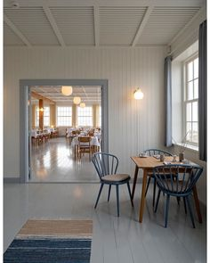 Svinkløv Badehotel: The Reincarnation of a Beloved Seaside Hotel in Denmark - Remodelista Coastal Style, Coastal Decor, Fresco, Yellow Curtains, Rack Design, Red Rooms, Nordic Design, Small House Plans, Mediterranean Style