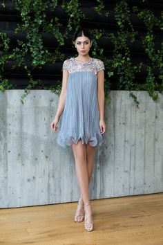 Ruched silk babydoll dress with guipure lace / Rochie babydoll din matase plisata manual si dantela guipure - Maigre Couture Babydoll Dress, Baby Dolls, Manual, Couture, Silk, Summer Dresses, Grey, Fashion, Lean Body