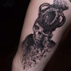 Absolutely stunning and unique skull with crown tattoo detailed tattoos