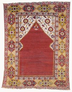 Prayer rug Accession Nr.: 54.375.1 Collection: Textile and Costume Collection Date: second half of the 17th cent. Place of production: Gördes Materials wool Techniques Ghiordes (symmetrical or Turkish) knots - See more at: http://collections.imm.hu/gyujtemeny/prayer-rug/2057#sthash.x5XvkRc6.dpuf