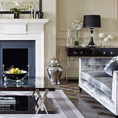Gray velour sofa, coffee table, console bar table. Glam.