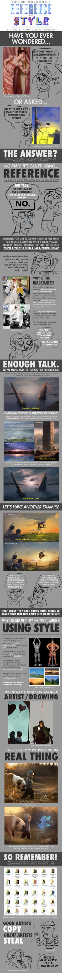 A great post about using reference.  HOW TO MAKE YOUR ART LOOK NICE: Reference n Style by trotroy on DeviantArt