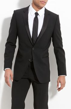 Black Tux with Black Tie.     HUGO 'Aikin Hollo' Trim Fit Wool Tuxedo (Online Only) available at #Nordstrom