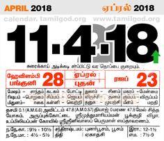 April  2018 Calendar - Tamil daily calendar for the day 11/4/2018