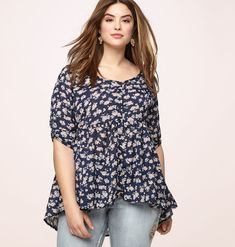 5397671c016c2 Shop new tops with girly influence like our plus size Floral Button  Babydoll Tunic available in sizes 14-24 online at loralette.com. Avenue  Store