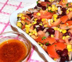 Salata mexicana cu fasole si porumb #reteta #salata Cantaloupe, Salad Recipes, Mexican, Ethnic Recipes, Food, Recipes For Salads, Meals, Yemek, Eten