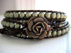 As Seen on The Vampire Diaries - Elena Goddess Bracelet in Matte Gold - Beaded Leather Triple Wrap Bracelet. $56.00, via Etsy.