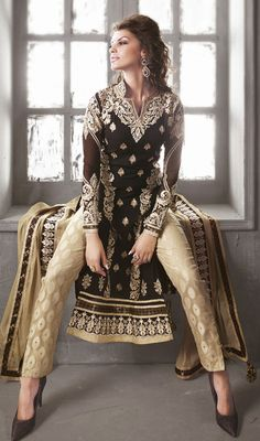 Beige and Black Embroidered Georgette Churidar Suit.