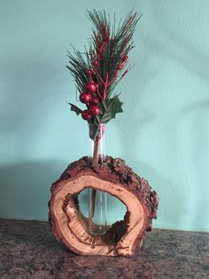 White Oak Hollow Log Vase