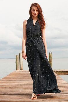 ea536579107 L.L.Bean Signature Maxi Dress in a dot print. Classic floor-length maxi in
