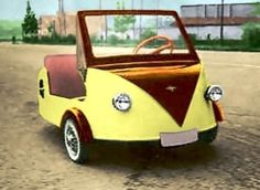 Kapi Chiqui 197cc 1956 Maintenance/restoration of old/vintage vehicles: the material for new cogs/casters/gears/pads could be cast polyamide which I (Cast polyamide) can produce. My contact: tatjana.alic@windowslive.com Weird Cars, Cool Cars, Vintage Cars, Antique Cars, Microcar, Reverse Trike, Mobiles, Yellow Car, Car Museum