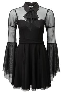 Bound By Blood Chiffon Dress [B] | KILLSTAR The moon is always watching - magical vibrations with our 'Bound By Blood' delicate chiffon skater dress; with a sweetheart neckline and accent bat-collar, long flowing angel sleeves and beautiful lace-up accented back. Come with an optional tie-ribbon for extra drama! Fit for a party or grave, you're ready to go from day-to-night with ease in this flattering and versatile dress.