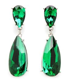 Emerald Green Double Teardrop Crystal Dangle Earrings Wedding Bridesmaids - Auralee Company