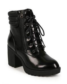 New Women Nature Breeze Brutal-01 Polished Leatherette Chunky Heel Combat Boot #NatureBreeze #LaceUps