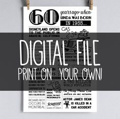 Personalized 60th Birthday Poster 1955 by sarabethpapercrafts