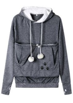 Anbech Women Big Kangaroo Pouch Hoodie Long Sleeve Pet Cat Dog Holder Carrier Sweatshirt S-4XL at Amazon Women's Clothing store:  #cats #kitties #kittens #cute #dog #animals #differentcolors #paws #pompom #gray #hoodies #pethoodie #amazing #furbaby #clothing #fashion