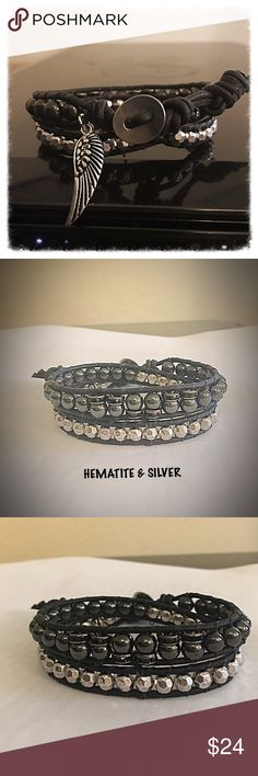 "Hematite and Silver Leather Wrap Gorgeous black leather wrap with Hematite & Silver beads for a look that is hip and stylish. This wrap includes black Crystal encrusted spacers and an angel wing charm to add just the right touch of ""girly"" 💕💄👠 Jewelry Bracelets"