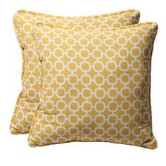@Overstock - This 18.5-inch square throw pillow is sure to be the perfect accent to any room in your home with its designer colors and superior quality.http://www.overstock.com/Home-Garden/Decorative-Yellow-White-Geometric-Square-Outdoor-Toss-Pillows-Set-of-2/6507390/product.html?CID=214117 $54.99